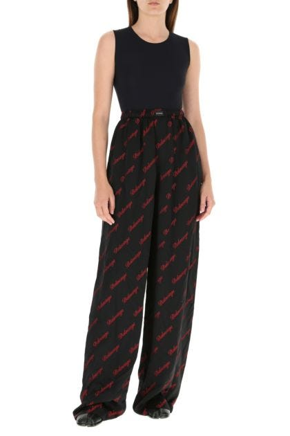 Embroidered viscose blend palazzo pant