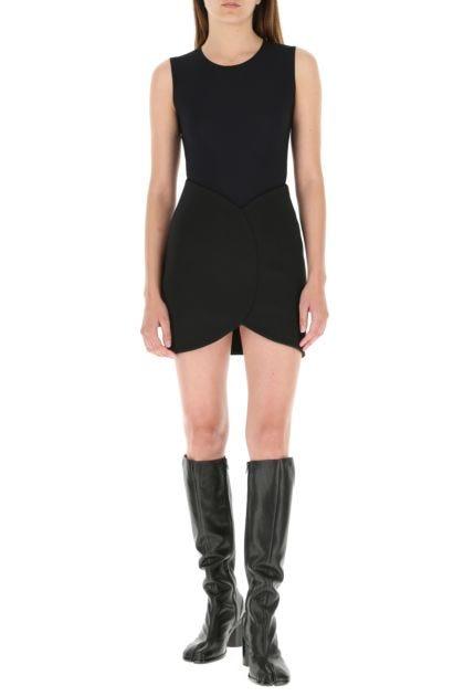 Black stretch viscose blend miniskirt
