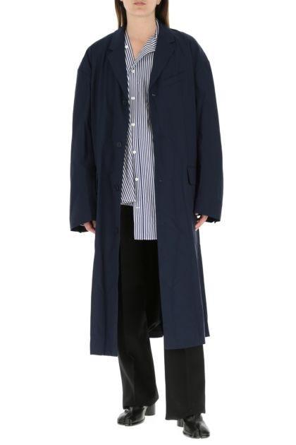 Dark blue stretch nylon oversize overcoat