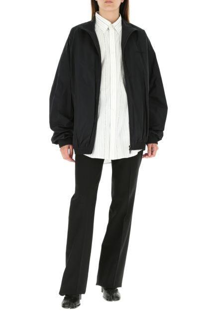 Black nylon blend oversize jacket