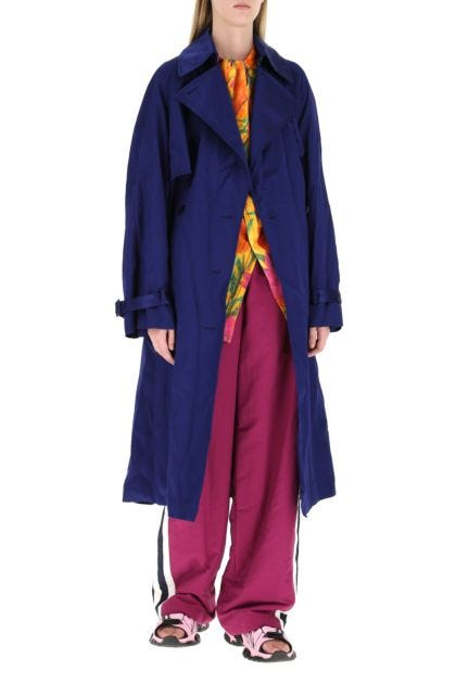 Electric blue viscose trench coat