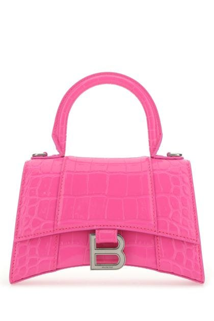 Fluo pink leather XS Hourglass handbag