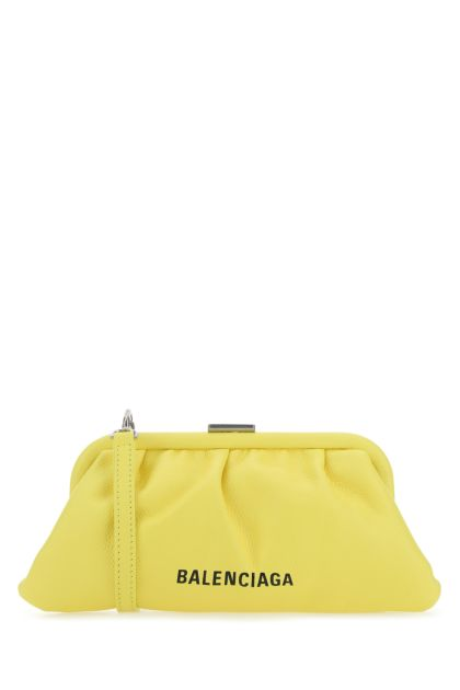 Yellow leather Cloud XS clutch