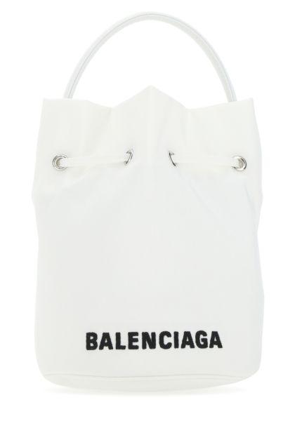 White nylon Wheel bucket bag