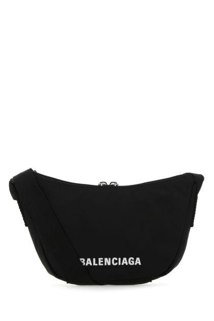 Black nylon Wheel Sling shoulder bag