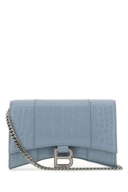 Powder blue leather Hourglass crossbody bag