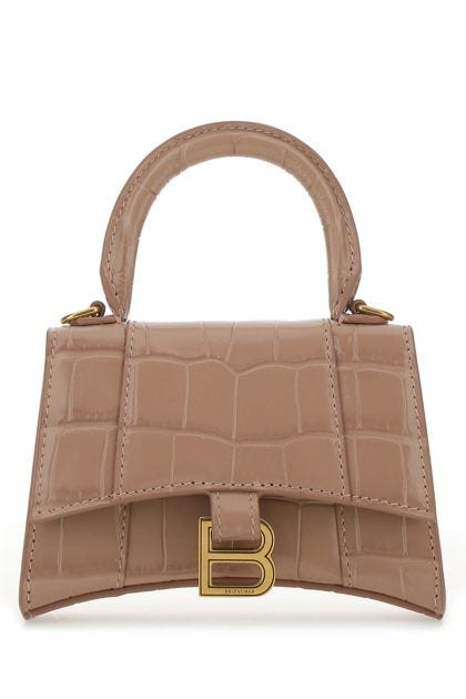 Powder pink leather mini Hourglass handbag