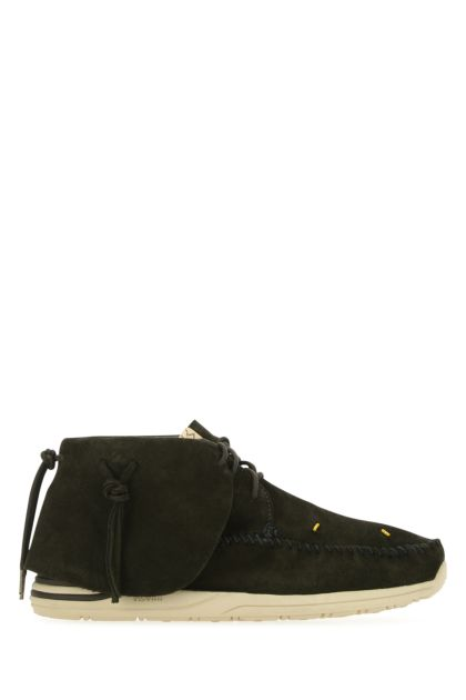 Dark green suede Lhamo-Folk lace-up shoes