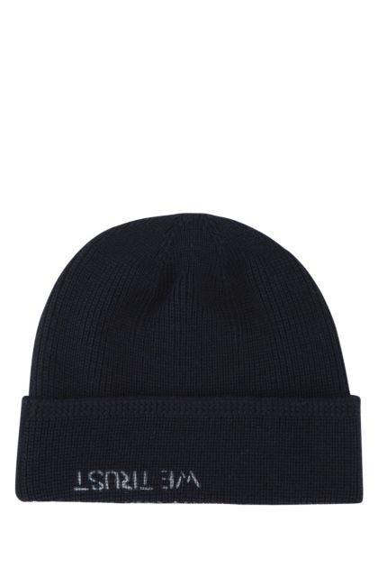 Midnight blue wool blend beanie hat