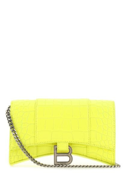 Yellow leather Hourglass clutch