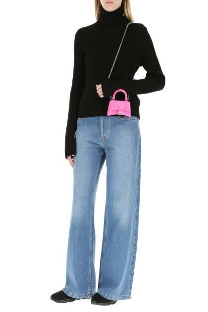 Fuchsia leather mini Hourglass handbag