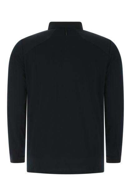Black wool blend polo shirt
