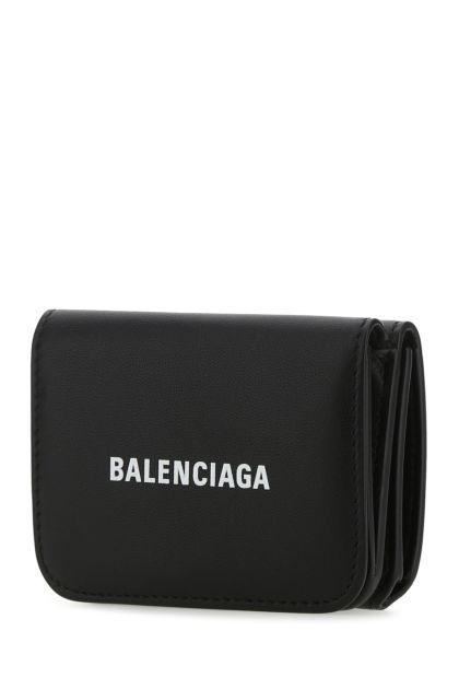 Black leather mini wallet