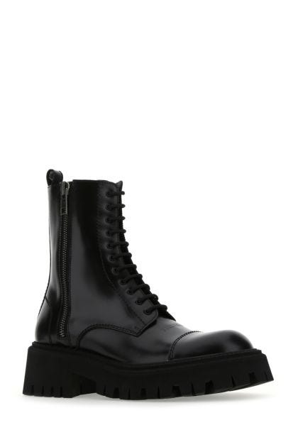 Black leather Tractor boots