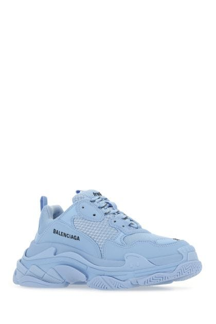 Light blue mesh and synthetic leather Triple S sneakers