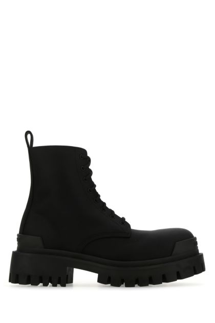Black canvas Strike ankle boots