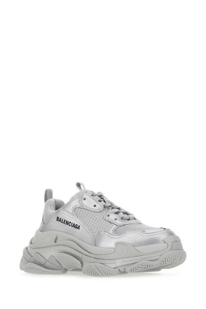 Silver mesh and synthetic leather Triple S sneakers
