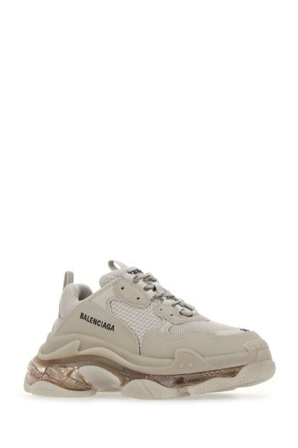 Cappuccino synthetic leather and mesh Triple S sneakers