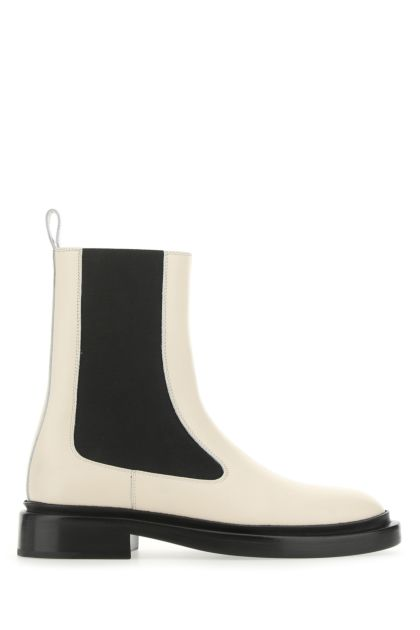 Ivory leather boots