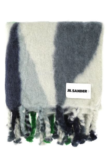 Embroidered mohair blend oversize scarf