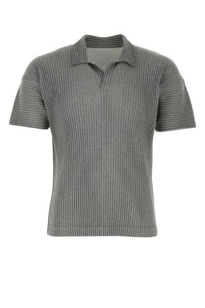 Melange grey polyester polo shirt