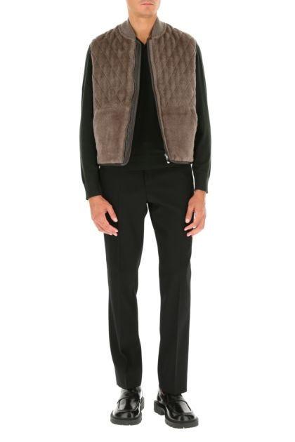 Dove grey alpaca blend sleeveless jacket