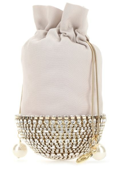 Embellished metal and fabric Kingham clutch