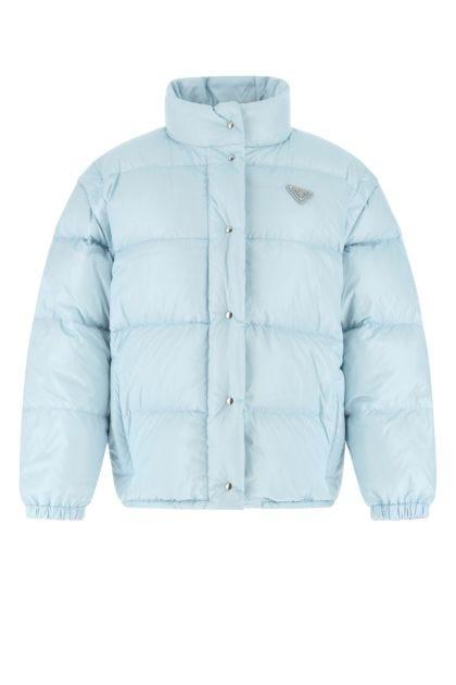 Light blue nylon down jacket