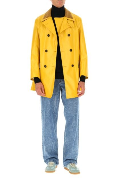 Yellow coated cotton trench coat