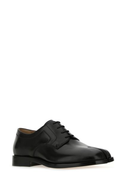 Black leather Tabi lace-up shoes