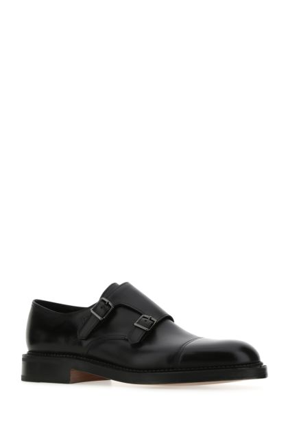 Black leather William monk strap shoes
