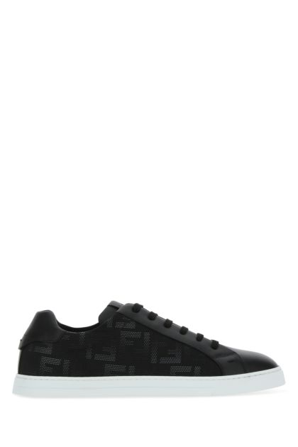 Black leather and fabric FF Flash sneakers