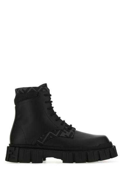 Black leather Fendi Force boots
