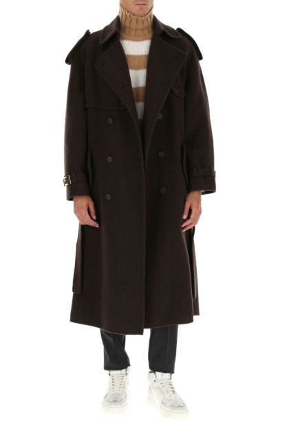 Brown cashmere trench coat