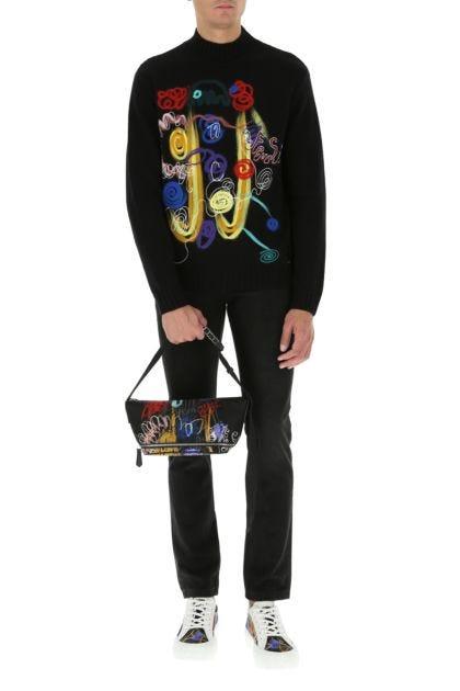 Black Econyl and leather belt bag