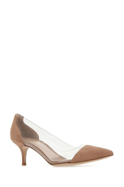 Two-tone PVC and suede Plexi 55 pumps