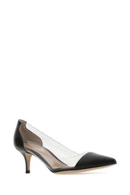 Two-tone leather and PVC pumps