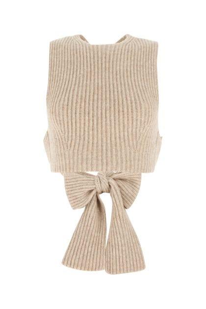Sand wool blend top