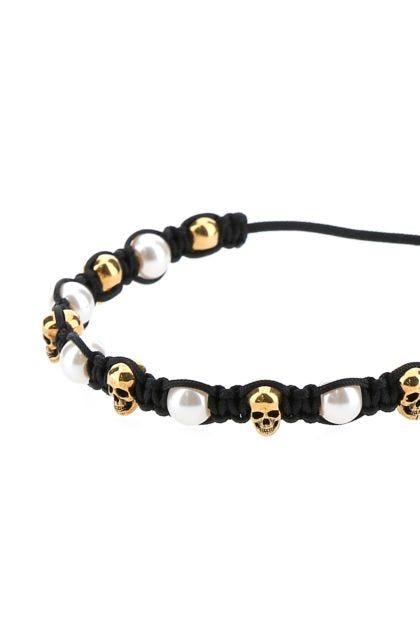 Black cotton Pearly Skull bracelet