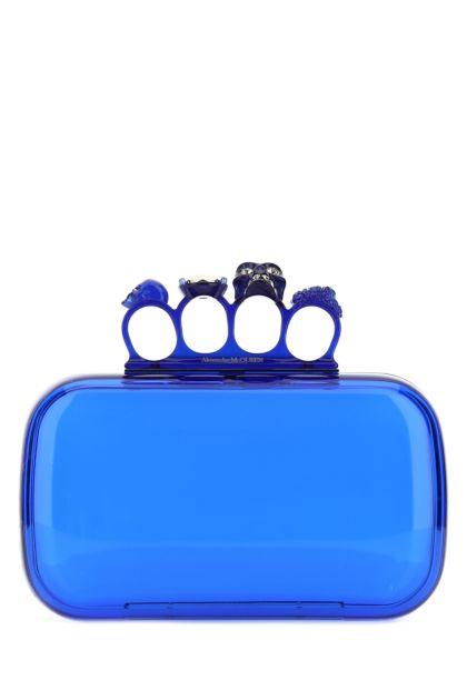 Electric blue plexiglass Four-Ring Skull clutch