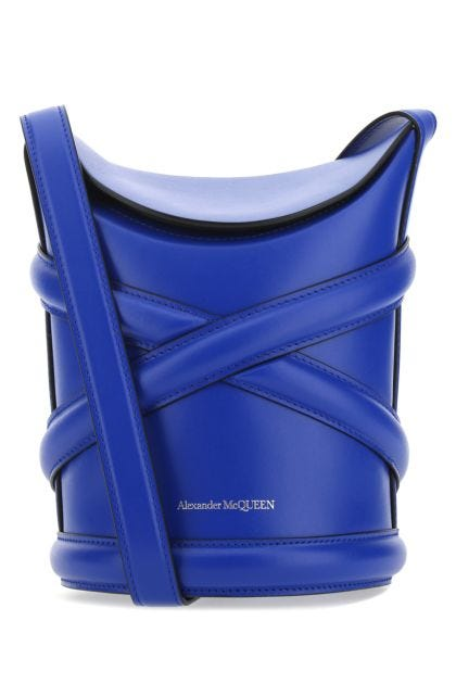 Electric blue leather The Curve bucket bag