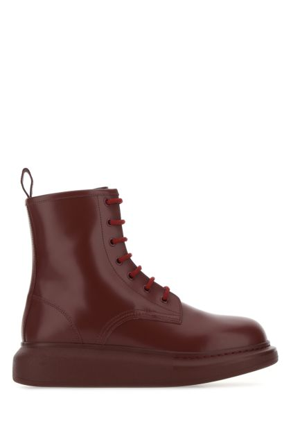 Burgundy leather Hybrid ankle boots