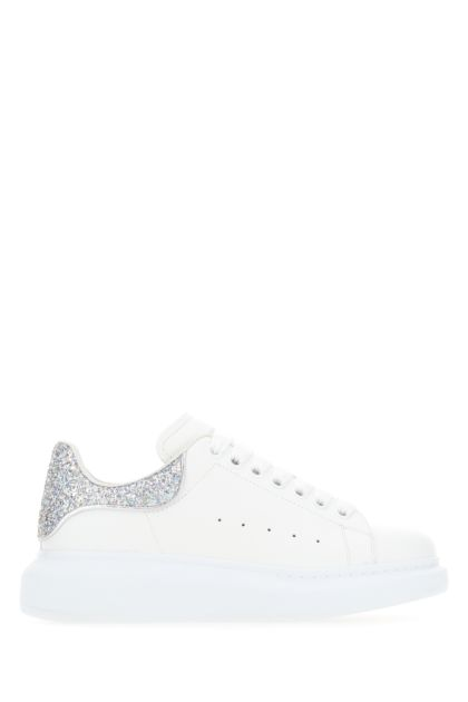 White leather sneakers with silver leather heel