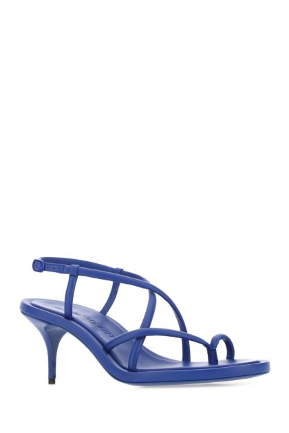 Electric blue nappa leather thong sandals
