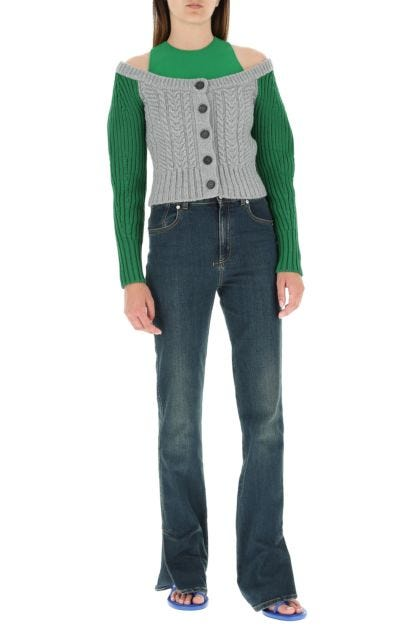 Two-tone wool blend cardigan