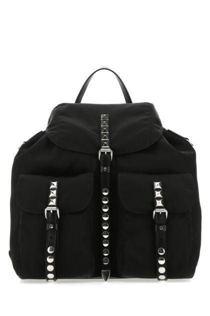 Black nylon medium backpack