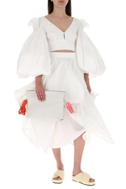 White leather Paula's Ibiza Flamenco clutch