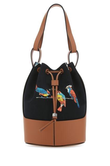 Two-tone leather Paula's Ibiza Balloon bucket bag