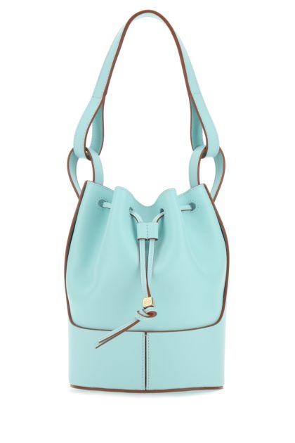 Light blue leather Paula's Ibiza small Balloon bucket bag