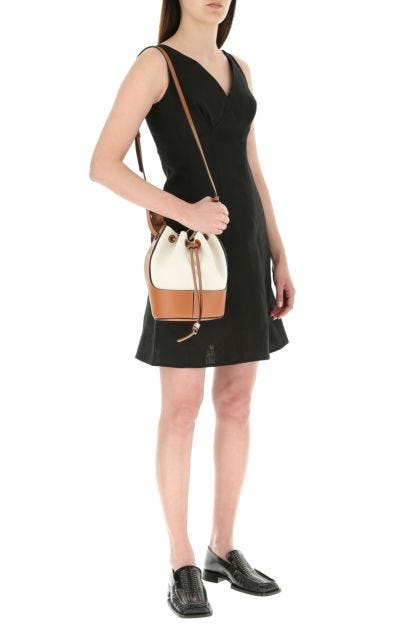 Two-tone leather Paula's Ibiza small Balloon bucket bag
